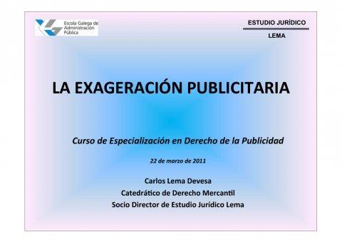 A esaxeración publicitaria  - Curso de especialización en Dereito da Publicidade